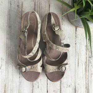Dansko Julie Platform Open Toe Sandal-Taupe Snake